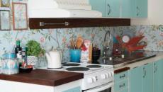 cuisine turquoise deco florale