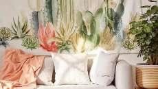 déco cactus mural tissu textile mur séjour
