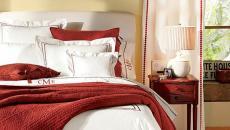 draps linge de lit chambre idées déco noël