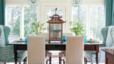 salle à manger déco en blanc et vert