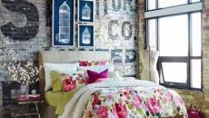 loft esprit industriel parure de lit fleurs