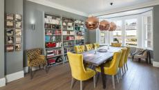 intérieur design salle à manger fauteuils jaunes