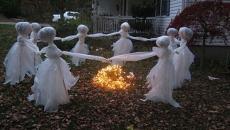 flippant déco fantômes halloween jardin