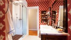 rétro design salle de bain papier peint