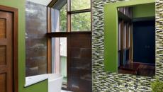 agencement originale déco salle de bain verte