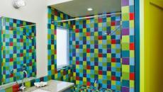 déco rigolote salle de bain vert et bleu