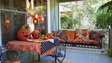 porche de maison décorée Halloween