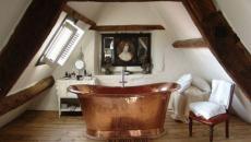 baignoire cuivre ambiance rustique