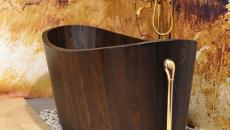 bois et laiton baignoire zen luxe