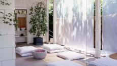 cabane de méditation séjour minimaliste