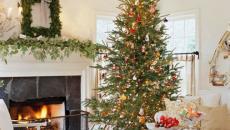séjour cheminée décoration de Noël classique