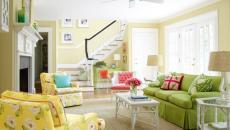 séjour décoration intérieure couleurs pétillantes jaune