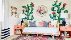 dessins murs déco cactus chambre de fille