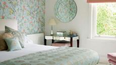 mur papier peint chambre à coucher décoration idées déco
