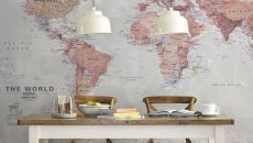 salle à manger décorée atlas carte géographique