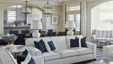 ameublement élégant séjour en blanc et bleu marine