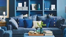 bleu couleurs classique aménagement décoration séjour salon maison moderne
