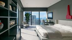 Appartement de ville chambre avec vue sur la city