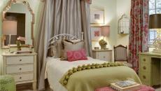 influence romantique pour les textiles déco de cette chambre