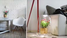 luminaire design créatif avec pot de fleurs