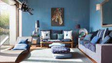 agréable design intérieur séjour en bleu déco