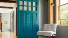 Déco sympa porte coulissante en bleu/ vert