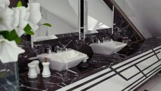 marbre noir et blanc salle de bains massive