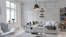 mur en brique blanche appartement design intérieur minimaliste
