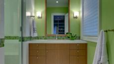 simple déco en vert salle d'eau