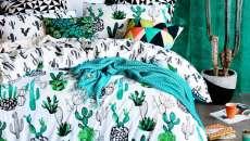 linge draps housses lit cactus imprimé