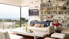 salon luxe bibliothèque ouverte livres
