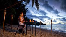 belle vue sur mer diner à deux plage exotique