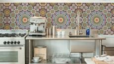 mosaïque dosserets fleurs deco cuisine