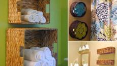 rangement astucieux pour la salle de bain à l'aide de paniers en rotin