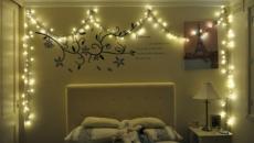 chambre à coucher décorée Noël