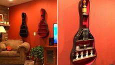 instrument de musique recyclé en étagère