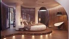 lit rond design intérieur chambre luxe romantique