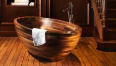 belle baignoire design zen exotique en bois