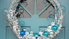 décoration festive porte d'entrée jour de l'an