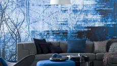 living séjour salon déco ameublement en bleu