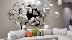 déco intérieure créative séjour papier peint 3D