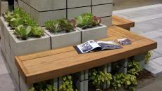 jardin parpaings assises bois massif aménagement terrasse