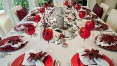 déco de table festive jour de l'an & Noël en rouge et blanc