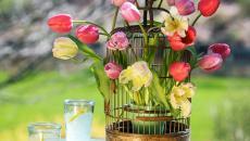 cage à oiseaux transformée vase déco