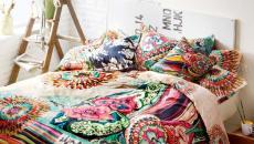 déco lit linge de maison coloré