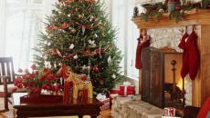 séjour décoration de Noël blanc rouge vert