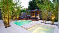 Une idée intéressante pour avoir un bassin et un jacuzzi dans un beau jardin au design minimaliste