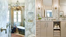 salle de bains mur et douche marbre gris