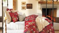 chambre à coucher linge de lit esprit Noël