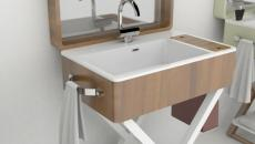 lavabo portatif design bois